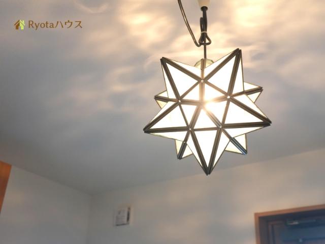 玄関の星型ペンダントライト