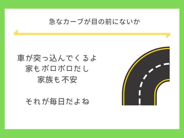 急なカーブで事故する車は多いよ