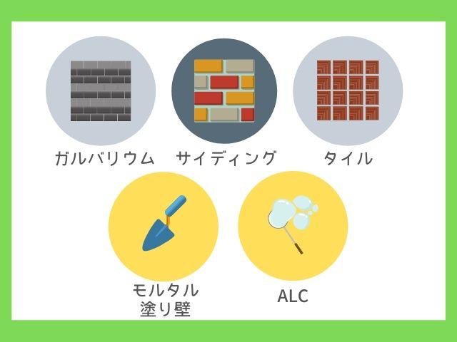 外壁の代表的な6つの種類